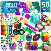 (50 Pcs) Fidget Poppers Popit Toy Pack Push Pop Bubble Popping Set It Mini Poppet Figit Package Figetget Spinners…