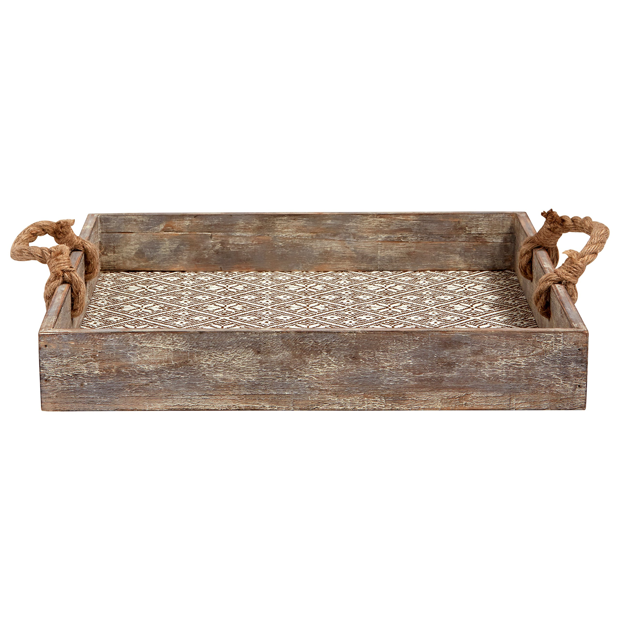 Stone & Beam Vintage Farmhouse Wood and Rope Tray, 15.75''W, White by Stone & Beam (Image #4)