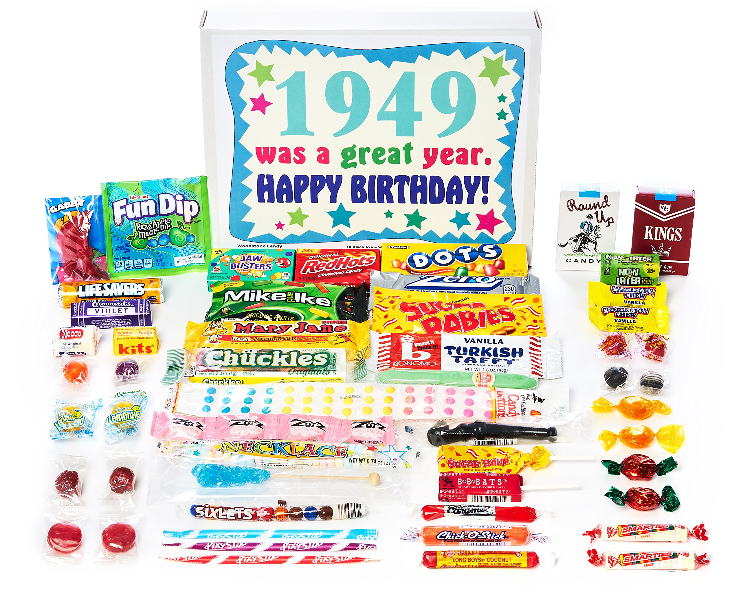 Woodstock Candy ~ 1949 70th Birthday Gift Box of Nostalgic Retro Candy Assortment from Childhood for 70 Year Old Man or Woman Born 1949