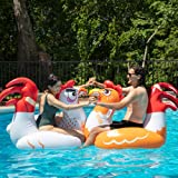 SCS Direct Chicken Fight Inflatable Pool Float Game Set - Includes 2 Giant Battle Ride-Ons - Flip Your Friends to Win…