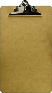 Saunders US-Works 05613 Recycled Hardboard Clipboard -Brown, Legal Size Writing Board with High Capacity Clip