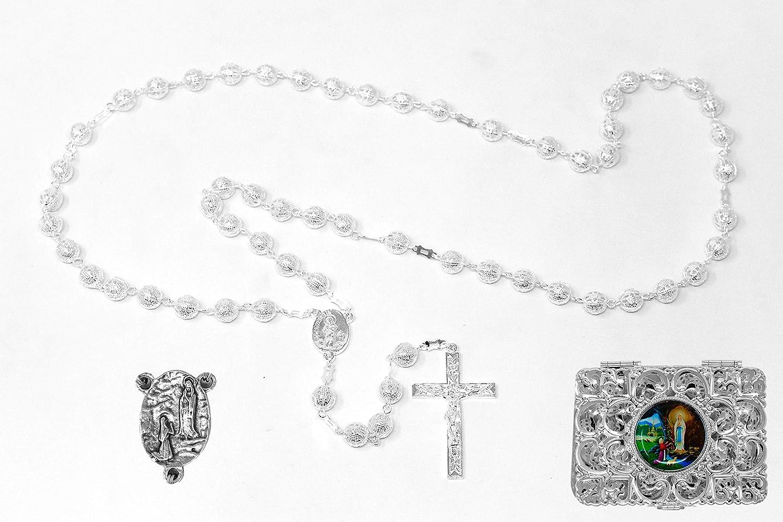 Rosario católico de plata con caja de regalo, de metal plateado – de Lourdes (5976/1)
