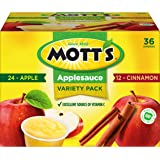 Mott's Apple & Cinnamon Variety Pack Applesauce, 4 oz cups (Pack of 36)