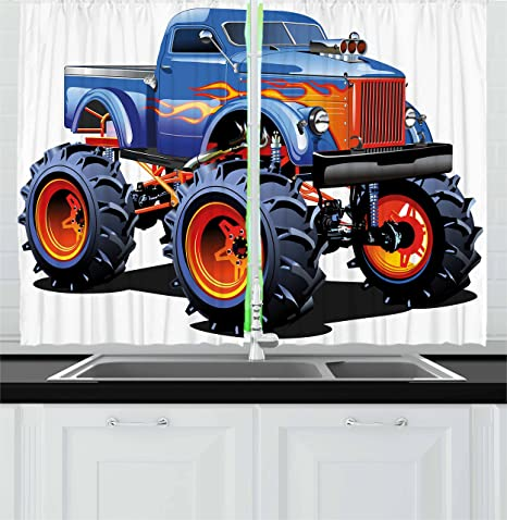 Amazon Com Ambesonne Man Cave Kitchen Curtains Cartoon Monster Truck With Huge Tyres Off Road Heavy Large Tractor Wheels Turbo Window Drapes 2 Panel Set For Kitchen Cafe Decor 55 X 39 Blue Orange