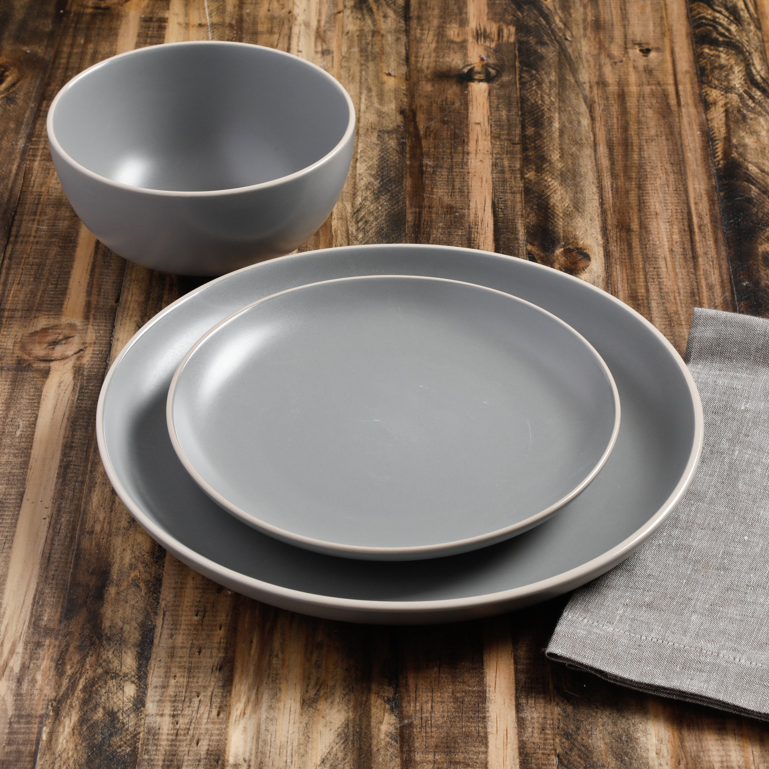 Gibson Home 114388.12RM Rockaway 12-Piece Dinnerware Set Service for 4, Grey Matte by Gibson Home (Image #6)