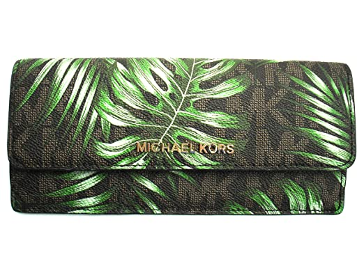 83df7d22f59902 Michael Kors Womens Jet Set Travel Signature PVC Flat Wallet (Brown/Olive):  Amazon.co.uk: Clothing