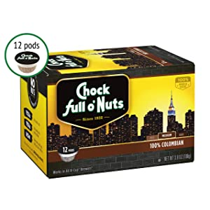 Chock full o'Nuts Coffee 100% Colombian Medium Roast, 12 Single Serve Cups, 3.8 Ounce