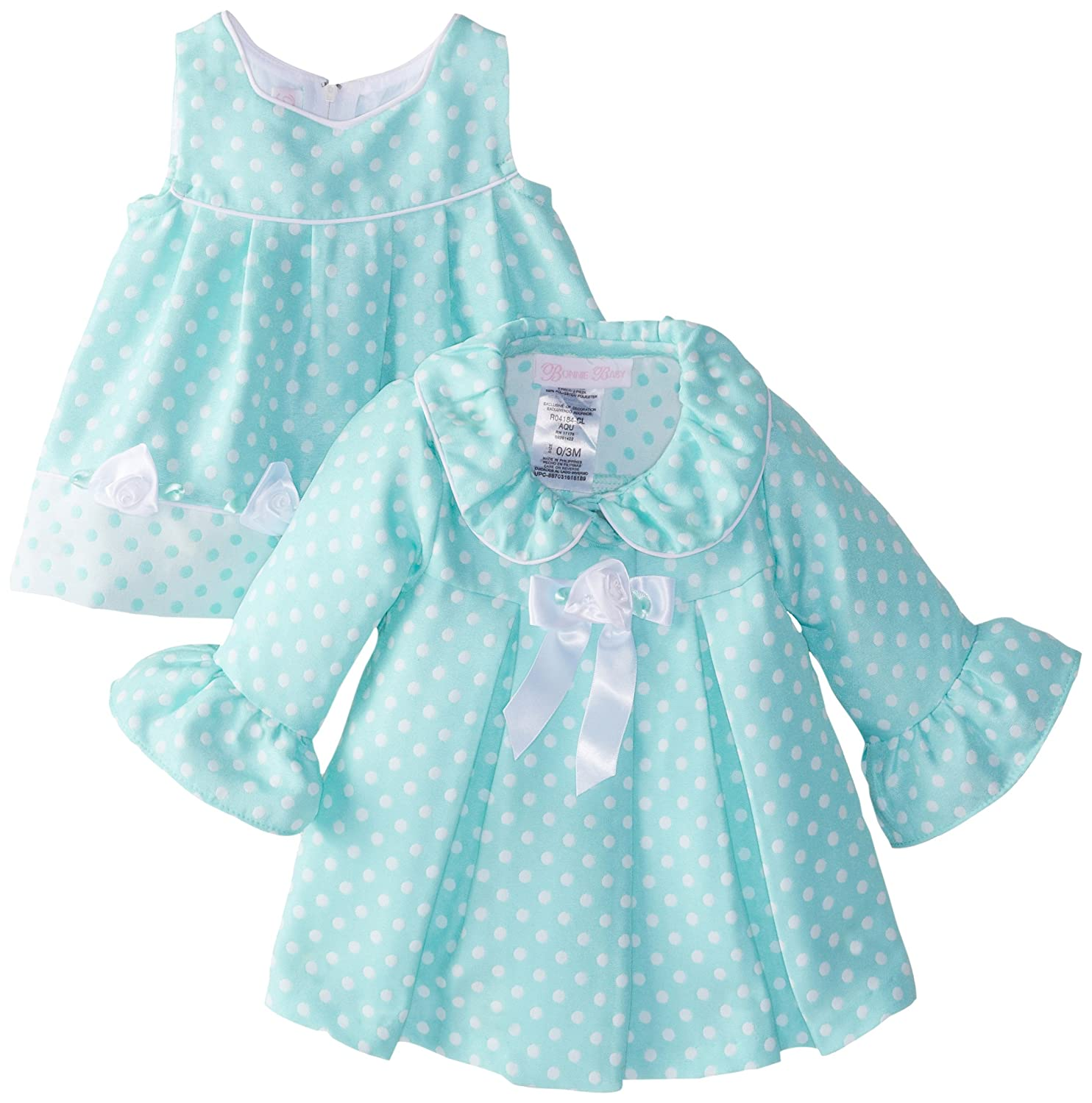 Amazon Bonnie Baby Girls Newborn Aqua Dot Coat And Dress Set Clothing