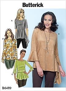 Butterick Patterns Misses' Pullover Tops, Y (XSM-SML-MED)