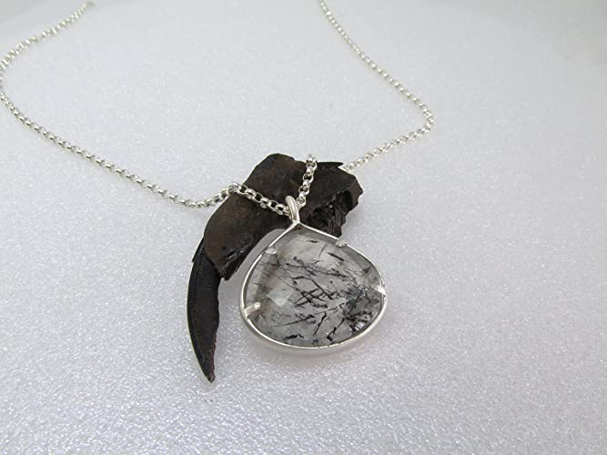 Amazon tourmalinated quartz pendant in sterling silver handmade tourmalinated quartz pendant in sterling silver aloadofball Image collections