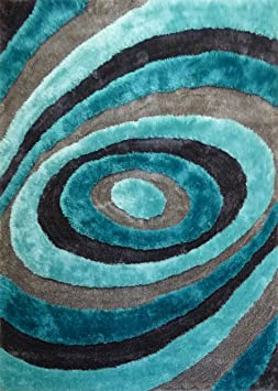 Amazon.com: RUGADDICTION Alfombra Color Gris y Azul hecha a mano modelo moderno suave y lujosa , gruesa pila de tamaño 5 x 7 pies: Kitchen & Dining