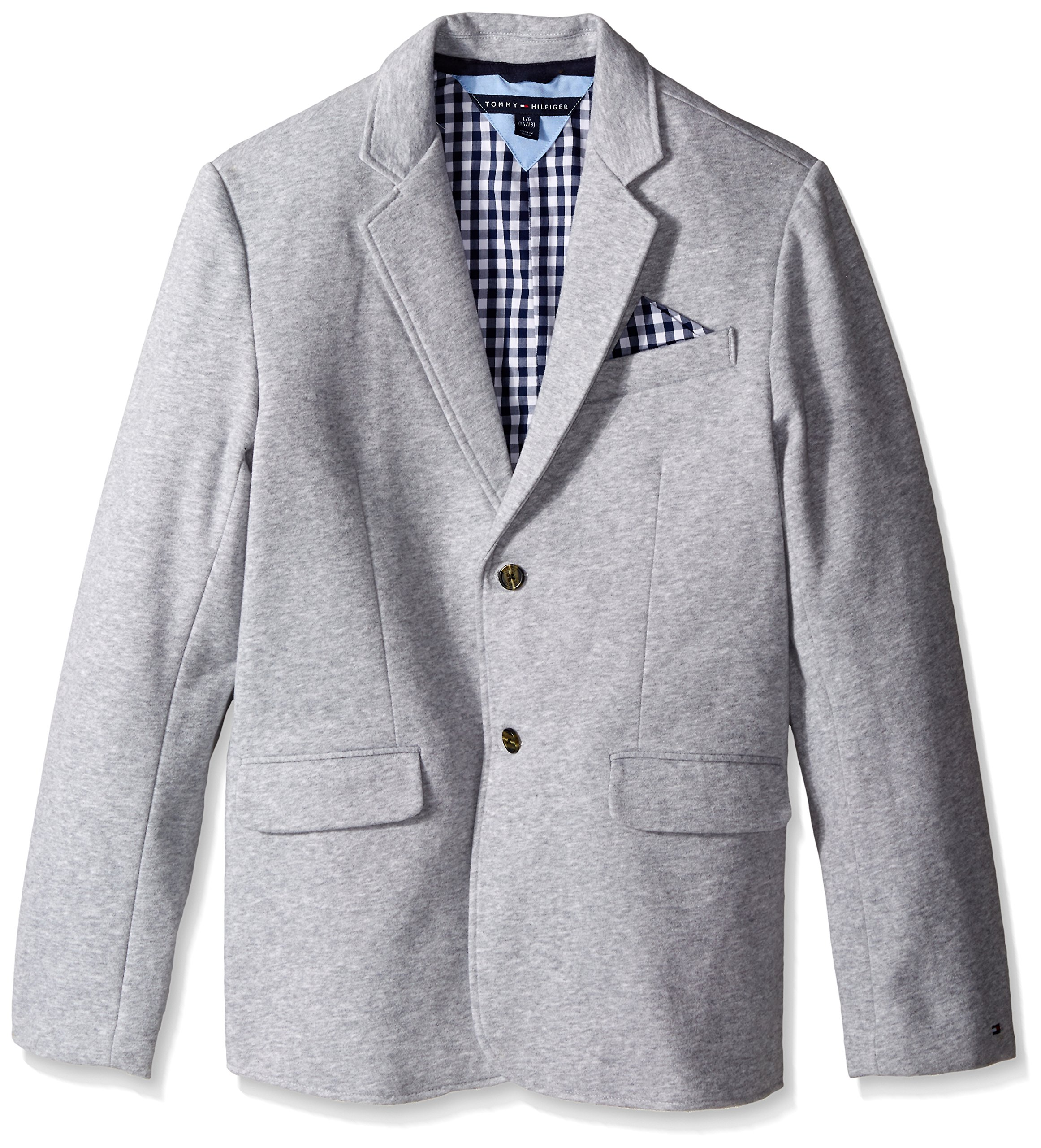 Tommy Hilfiger Little Boys' Knit Blazer with Gingham Lining, Grey Heather, 6