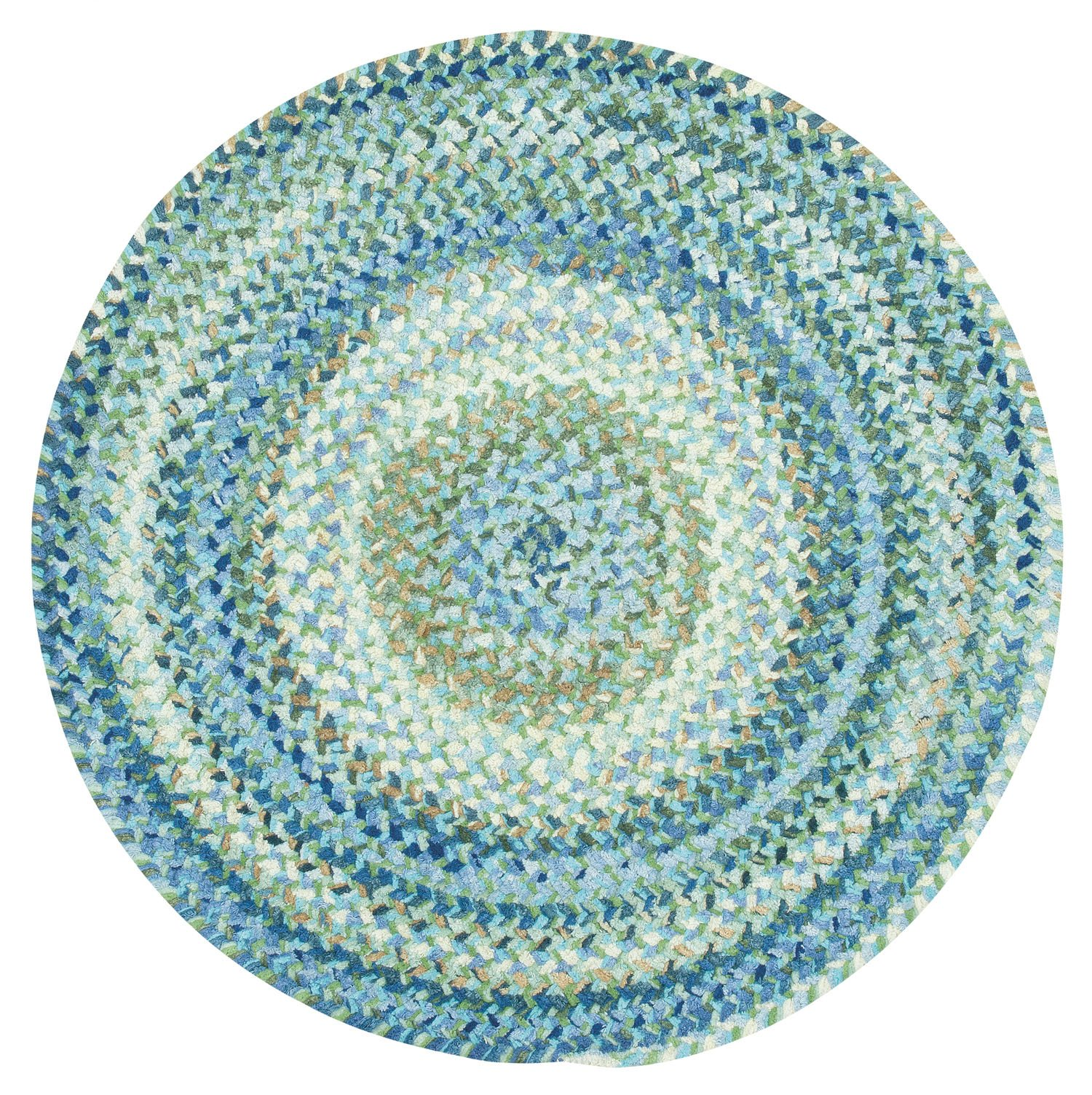 Capel Rugs Ocracoke Round Braided Area Rug, 36'', Light Blue