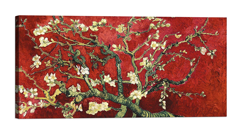 Quadro stampa su tela con telaio in legno Vincent van Gogh Van Gogh Deco Mandorlo in fiore red variation, detail con vernice effetto dipinto misura 80x40 CM