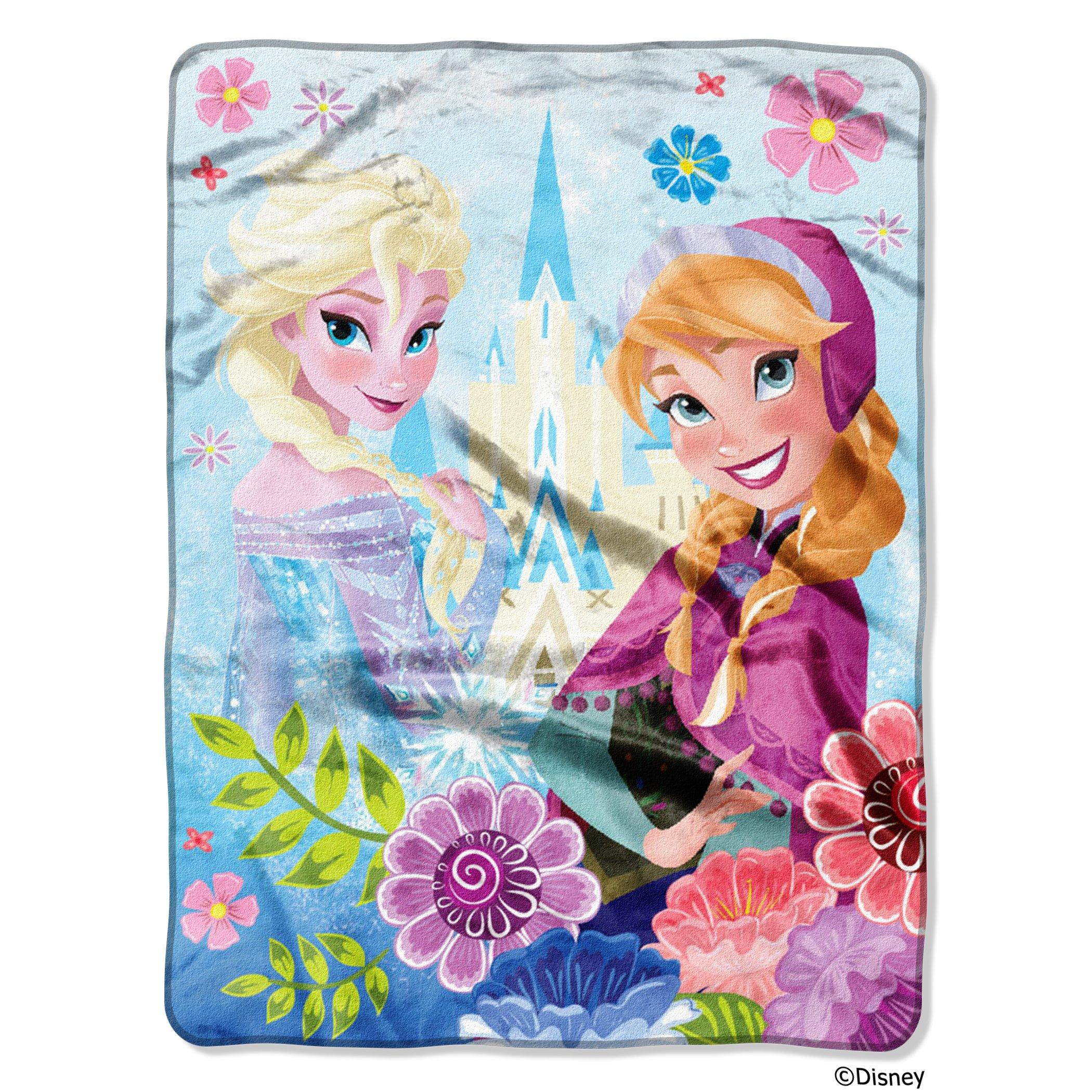 Disney's Frozen, ''Floral Fjord'' Micro Raschel Throw Blanket, 46'' x 60'', Multi Color by Disney