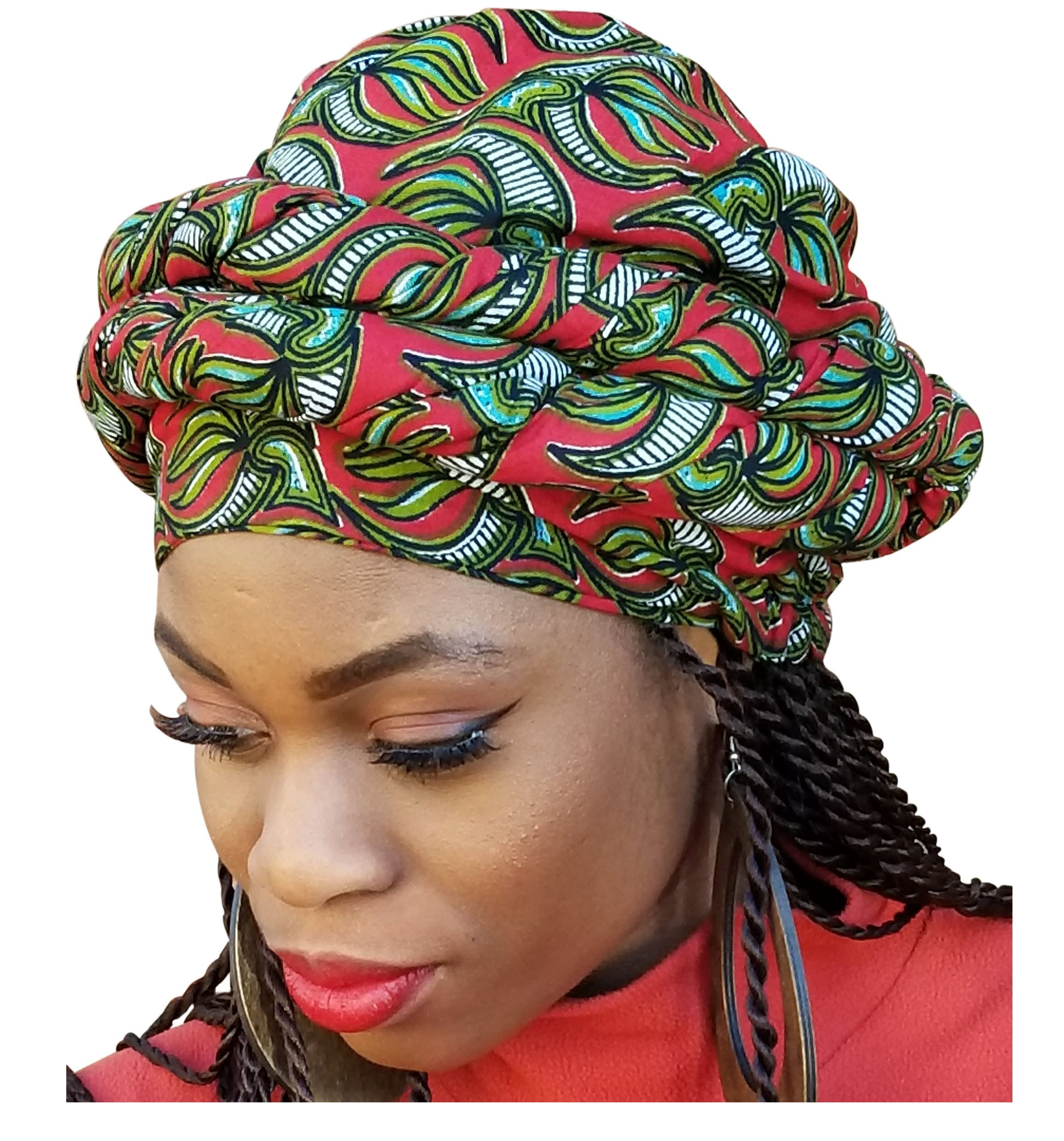 Red, Olive Green African Print Ankara Modu Hat Pre-tied Head wrap