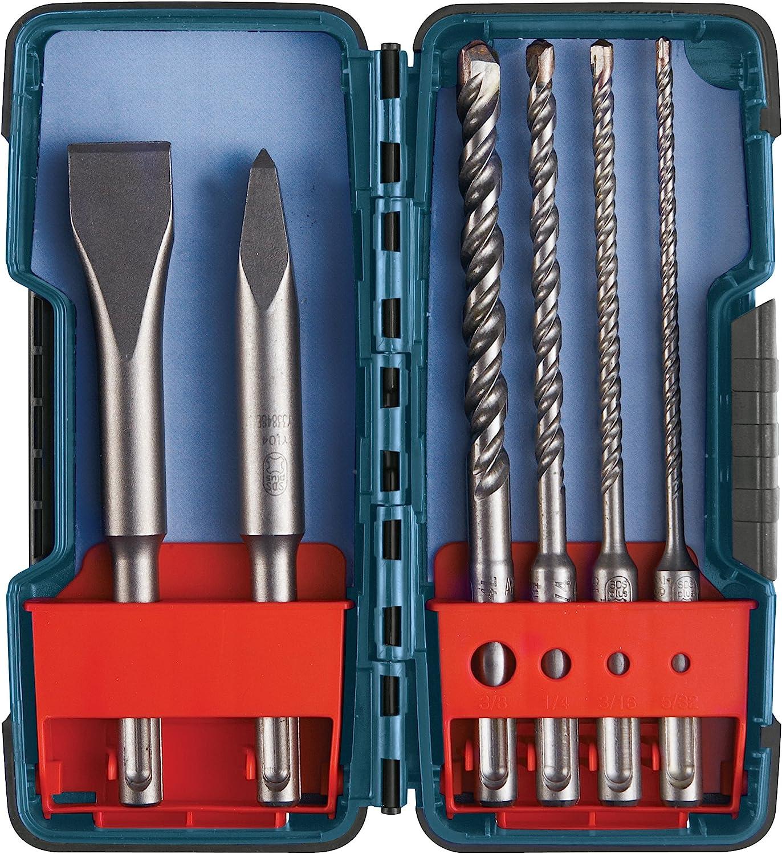 Bosch HCST006 SDS-plus Set de puntas intercambiables para albañilería, cinceles y carburo, 6 piezas