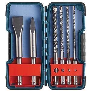 Bosch 6 Piece SDS-plus Masonry Trade Bit Set, Chisels and Carbide, HCST006