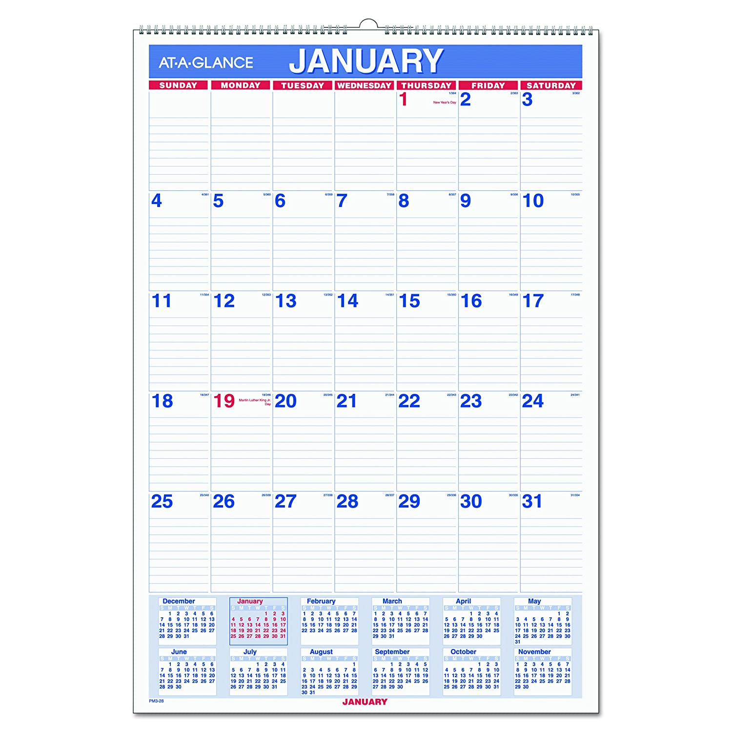 Amazon.com : AT-A-GLANCE Wall Calendar 2017, Monthly, 15-1/2 x 22 ...