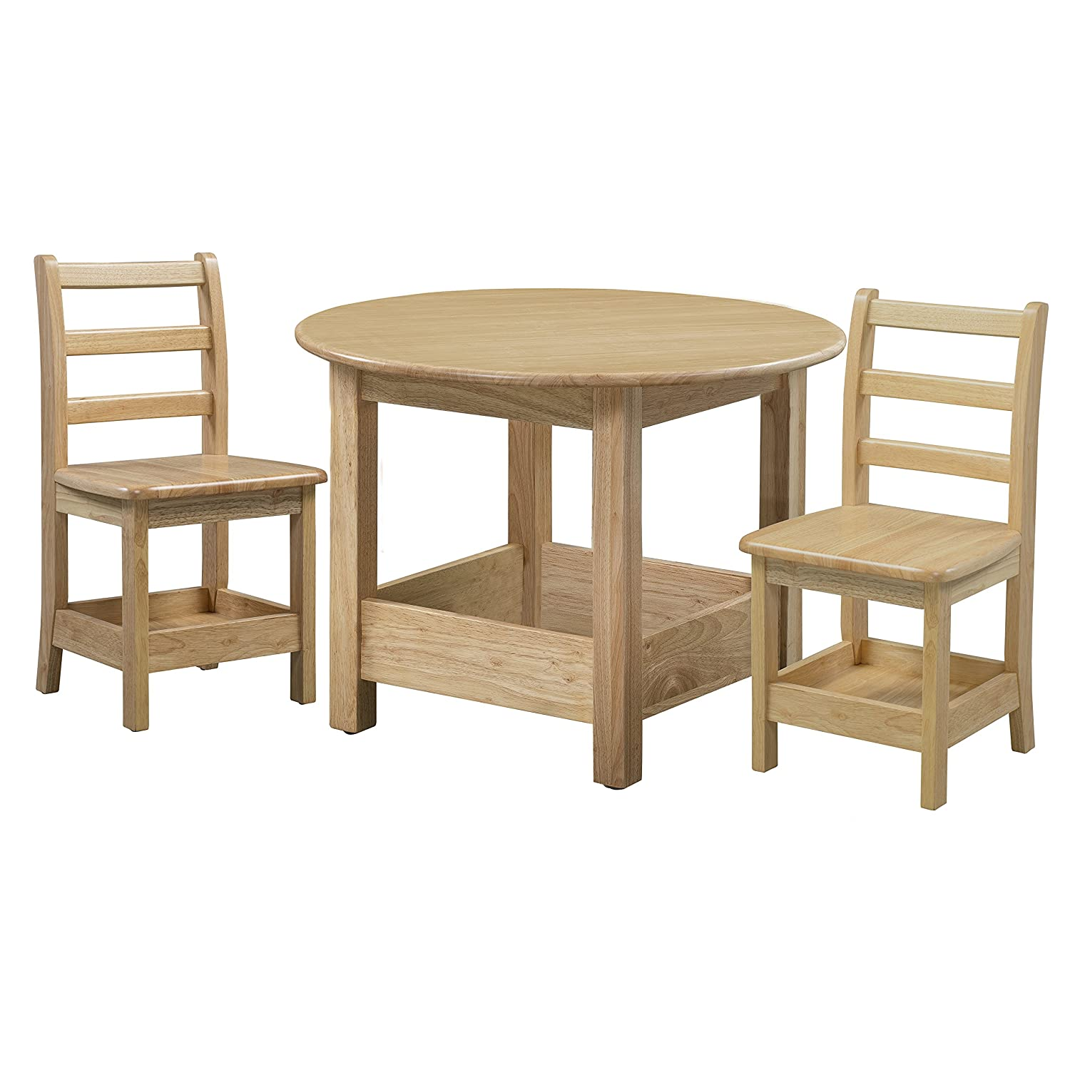 Amazon Com Ecr4kids Sit N Stash Solid Hardwood 32 Round Table And