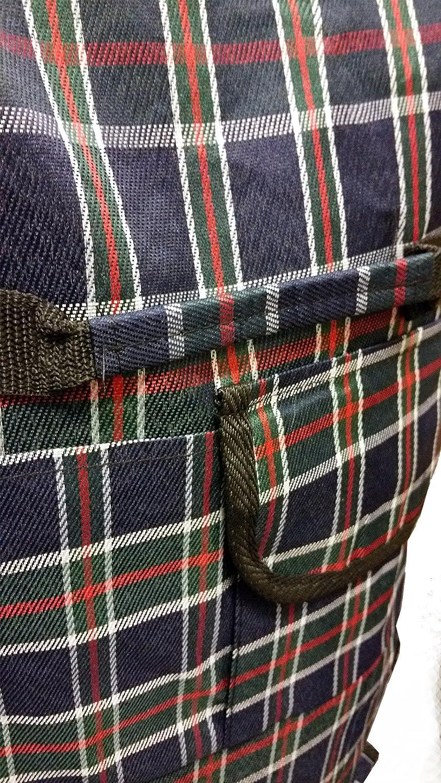 leicht mit Vordertasche und Rei/ßverschluss Grau kariert Einkaufstasche mit Rollen faltbar