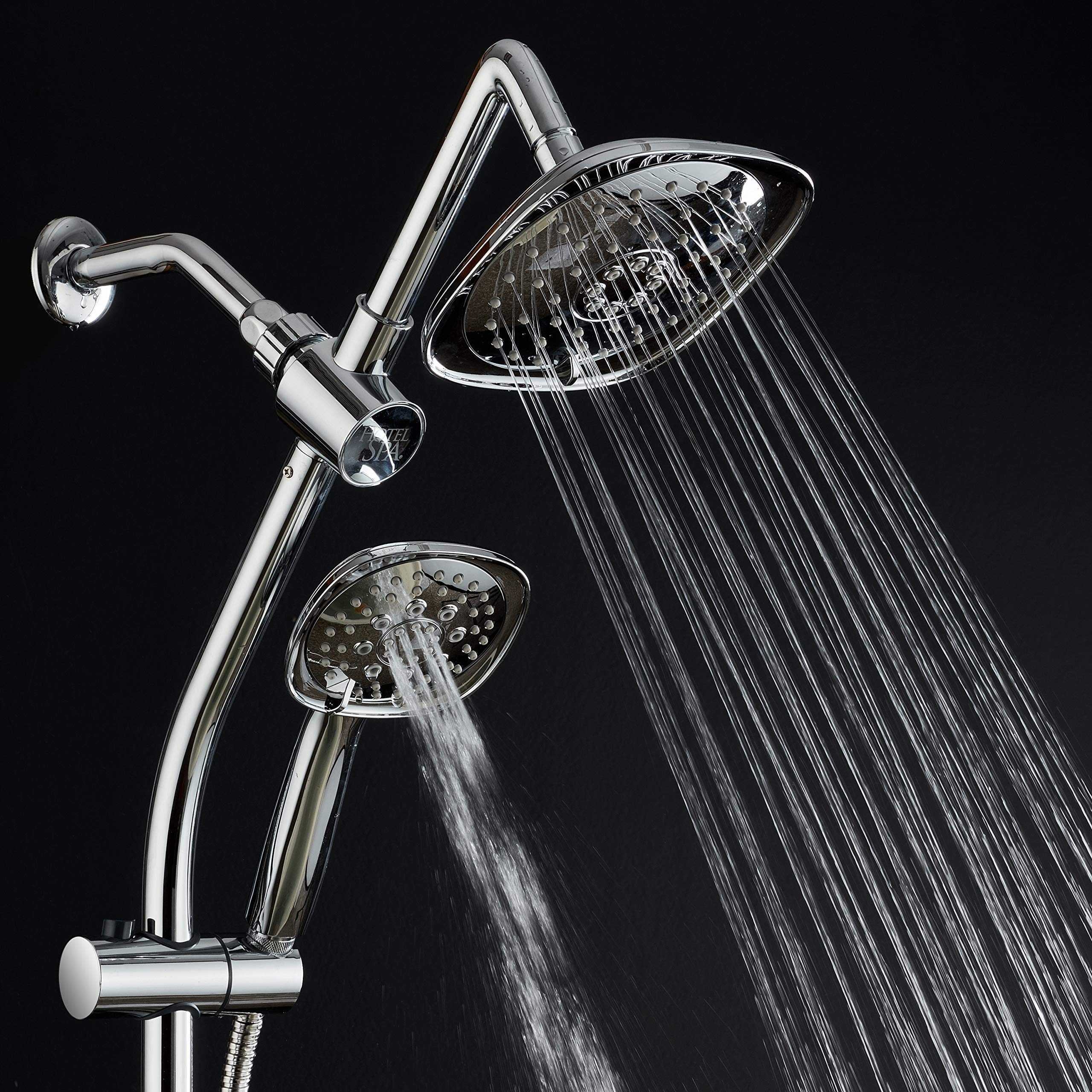 Spa Station 34'' Adjustable Drill-Free Slide Bar with 48-setting Showerhead Combo & Height Extension Arm / 3-way Square Rain & Handheld Shower Head/Low Reach Diverter/Stainless Steel Hose/Chrome by Hotel Spa (Image #4)