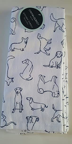 Cynthia Rowley Kitchen Towels Dogs Dachshund Outlined White Navy Blue