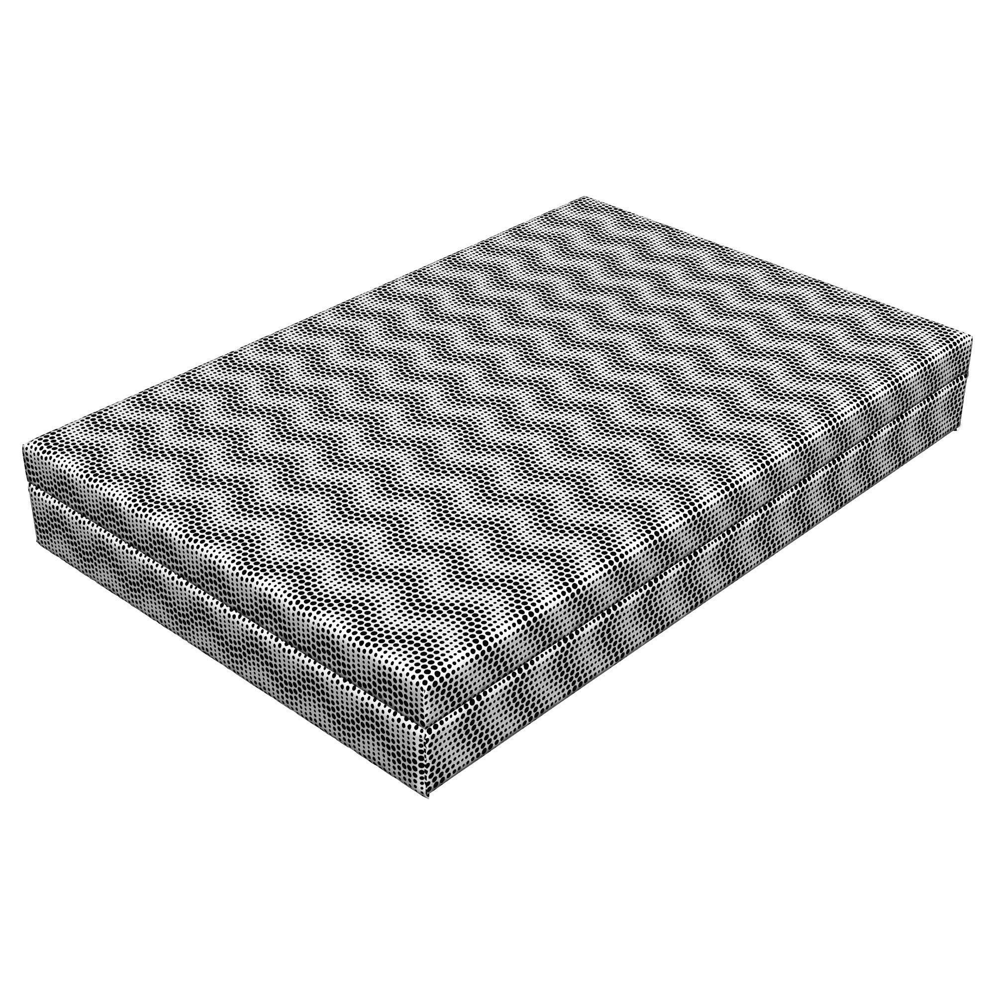 Lunarable Contemporary Dog Bed, Halftone Horizontal Wavy Dotted Lines Pattern Abstract Oval Design Creative, Durable Washable Mat with Decorative Fabric Cover, 48'' x 32'' x 6'', Black White