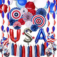 4th of July Decorations - Patriotic Decorations, American Party Supplies, 77 USA Party Supplies Pack, 4th of July…