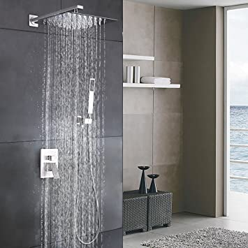 Esnbia Luxury Rain Shower Systems Wall Mounted Shower Combo Set With High  Pressure 12 Inch Square