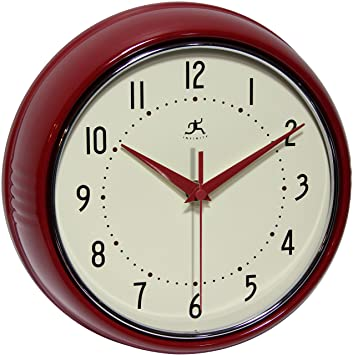 9.5 Inch SILENT Metal Red Wall Clock Round Retro By Infinity Instruments