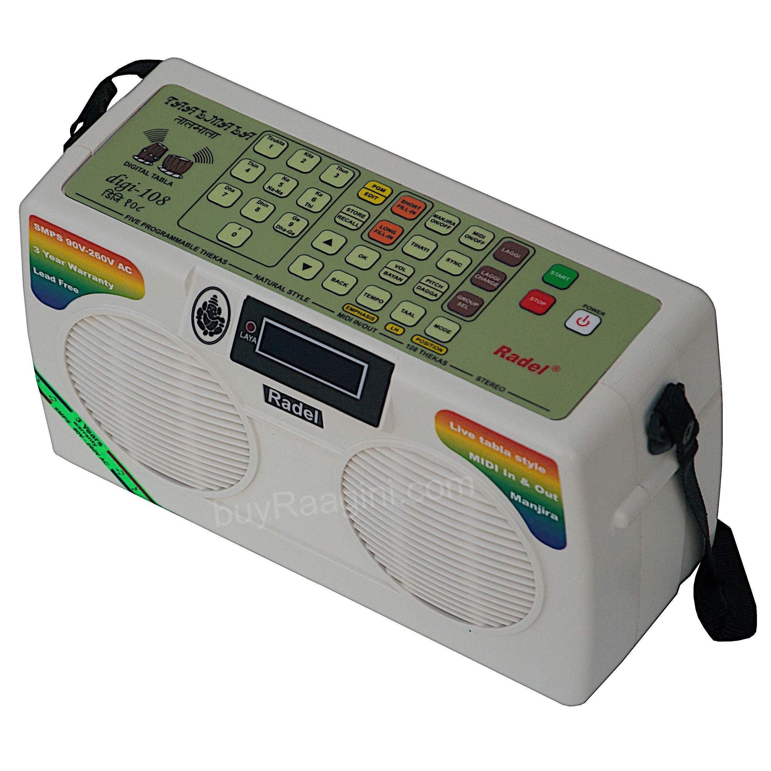 Electronic Tabla - RADEL Taalmala - Digi 108, Electronic Tabla & Manjira - Tabla Sampler, DJ Tabla Sound Machine, Instruction Manual, Power Cord, Bag (US-PDI-AAF) by Radel at buyRaagini.com (Image #4)