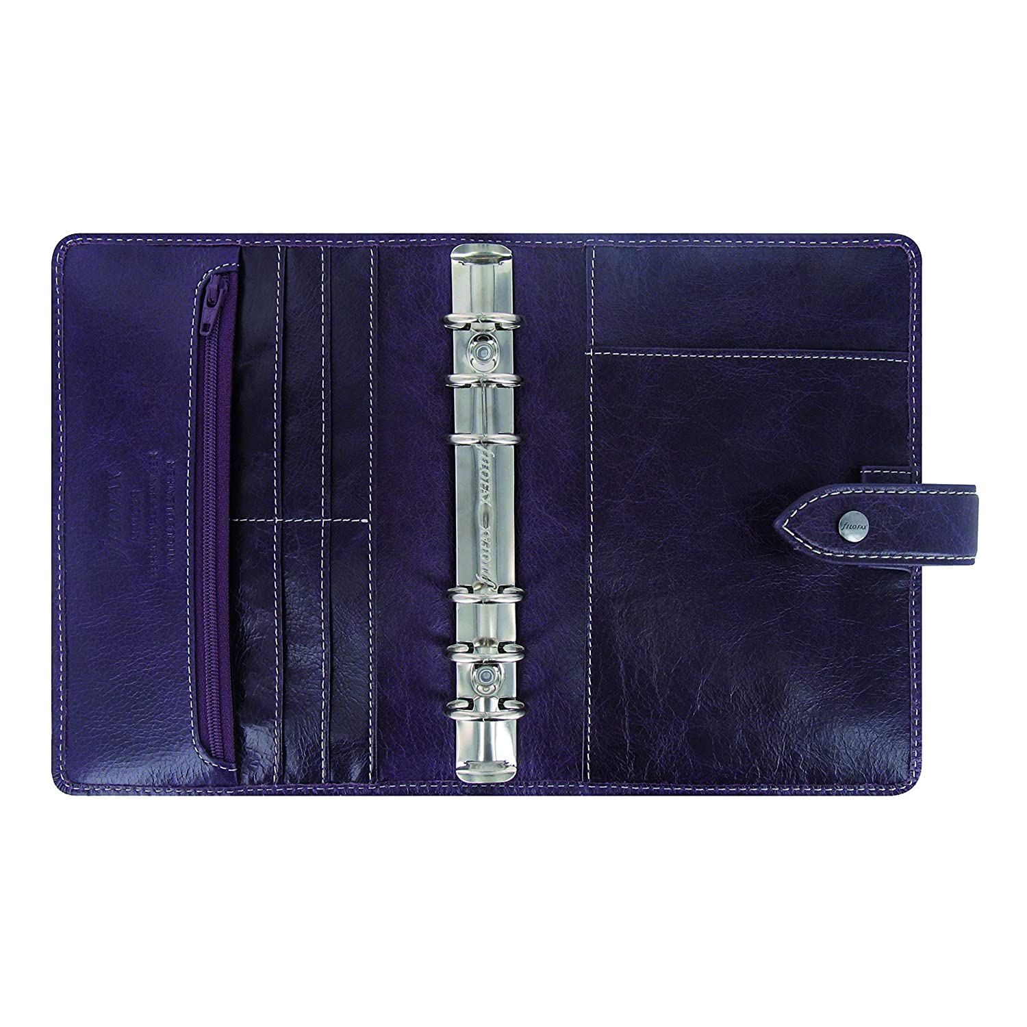 Filofax 2019 Personal Malden Organizer, Leather, Purple, Paper Size 6.75 x 3.75 inches (C025850-19)
