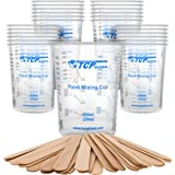 TCP Global 20 Ounce (600ml) Disposable Flexible Clear Graduated Plastic Mixing Cups - Box of 25 Cups & 25 Mixing Sticks…