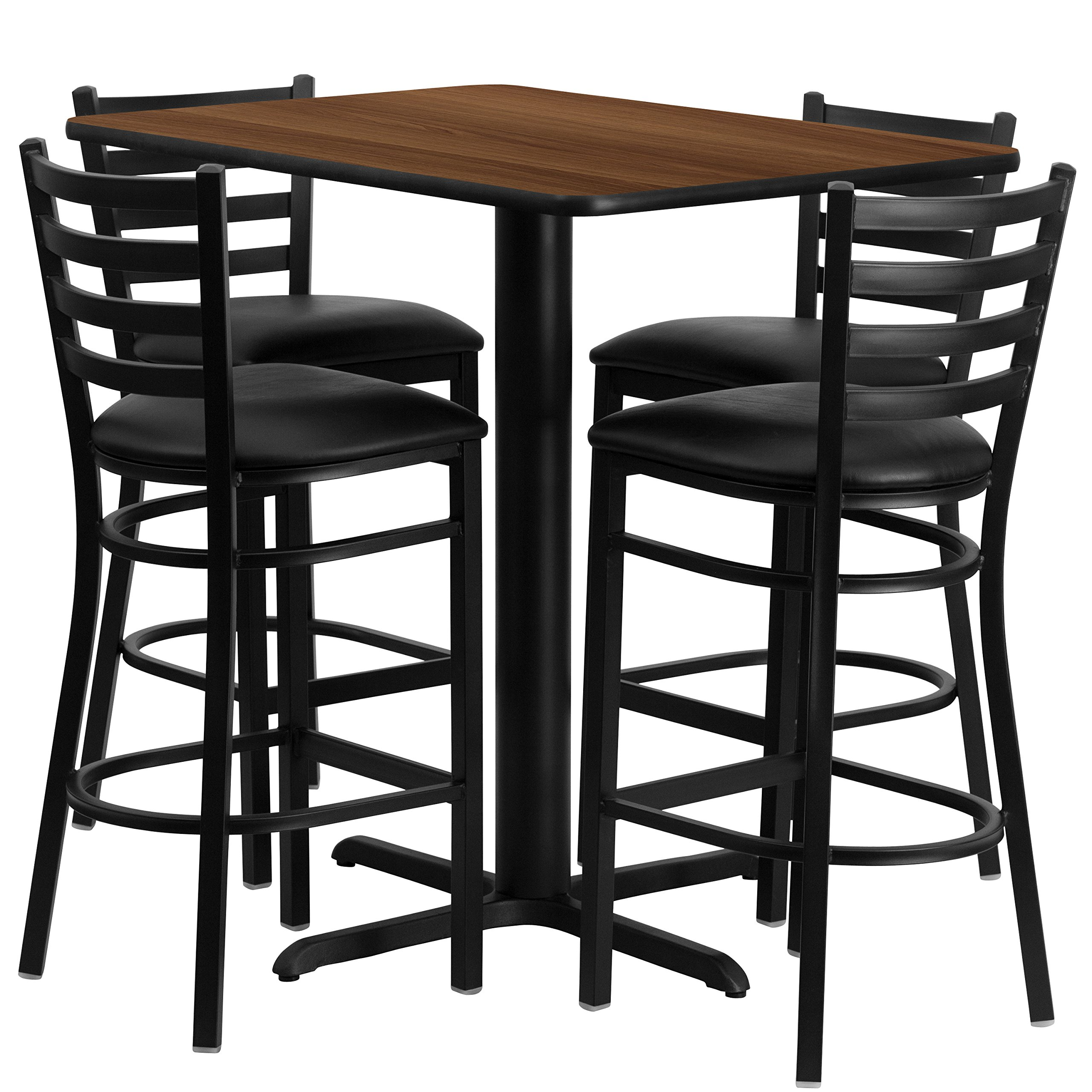 Flash Furniture 24''W x 42''L Rectangular Walnut Laminate Table Set with 4 Ladder Back Metal Barstools - Black Vinyl Seat
