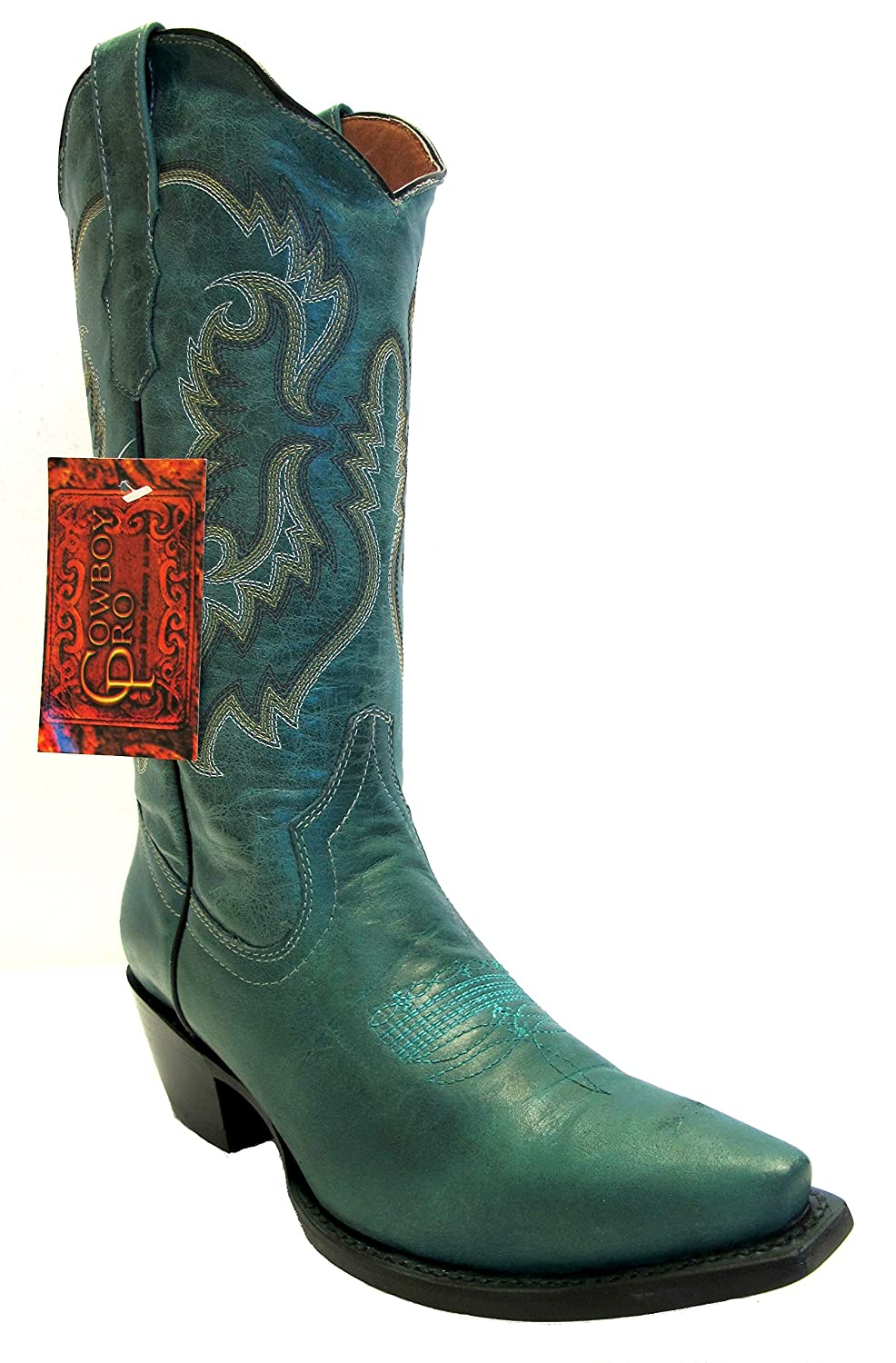 Women's New Leather Cowgirl Western Riding Boots Snip Toe Turquoise B01N05FQ8B 5 B(M) US