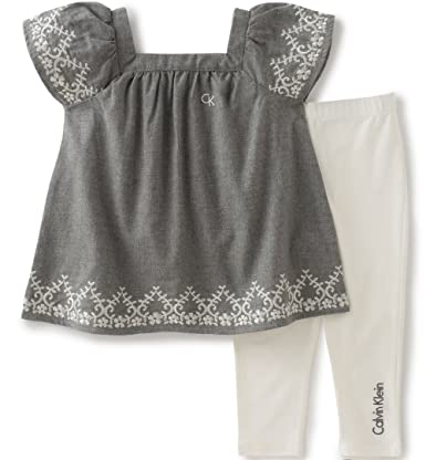 Calvin Klein Baby Girls' 2 Pieces Tunic Legging Set, Gray, 6/9M