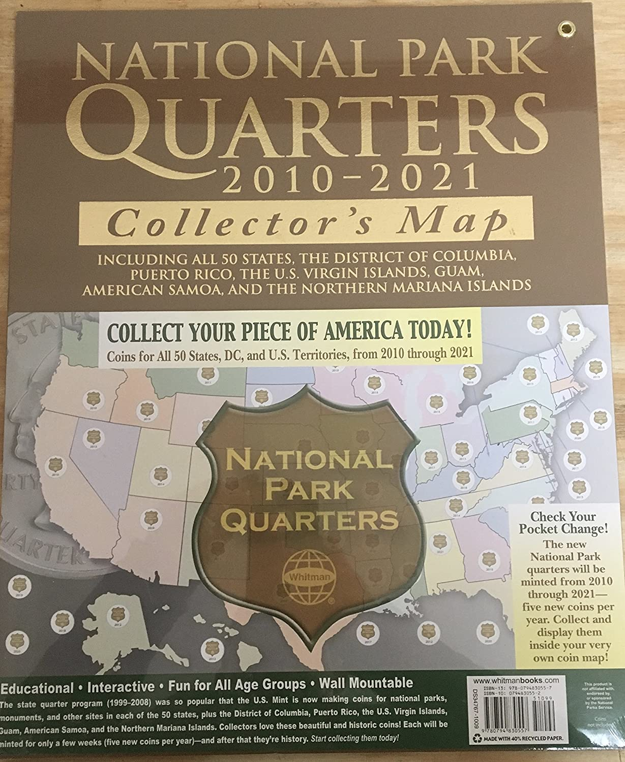 D National Park Quarters FREE GOLD COIN Includes Collectors - Us national park quarters book