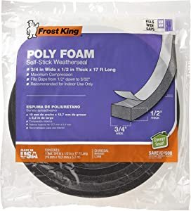 Frost King L346 Self-Adhesive Open Cell Tape, 17 Ft L X 3/4 in W 1/2 in T, Polyfoam, Charcoal