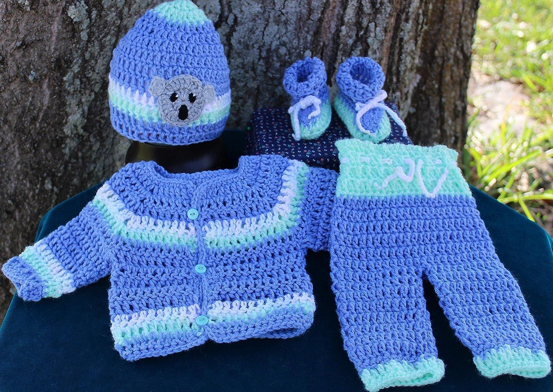 SaraStephCrafts Handmade Crochet Preemie 6 7 Lbs Four Piece Outfit For A Baby Girl