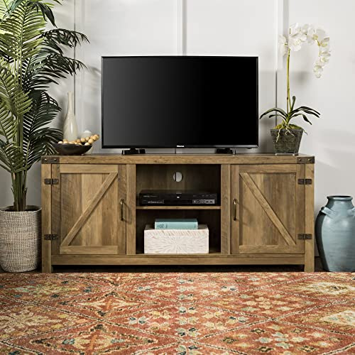 Home Accent Furnishings New 58 Inch Barn Door Television Stand Rustic Oak, 58 Inch