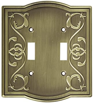 stanley home designs v8053 victoria double switch plate antique brass. beautiful ideas. Home Design Ideas