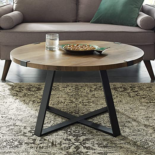 Amazon Com New 30 Inch Round Metal Wrap Coffee Table With Rustic