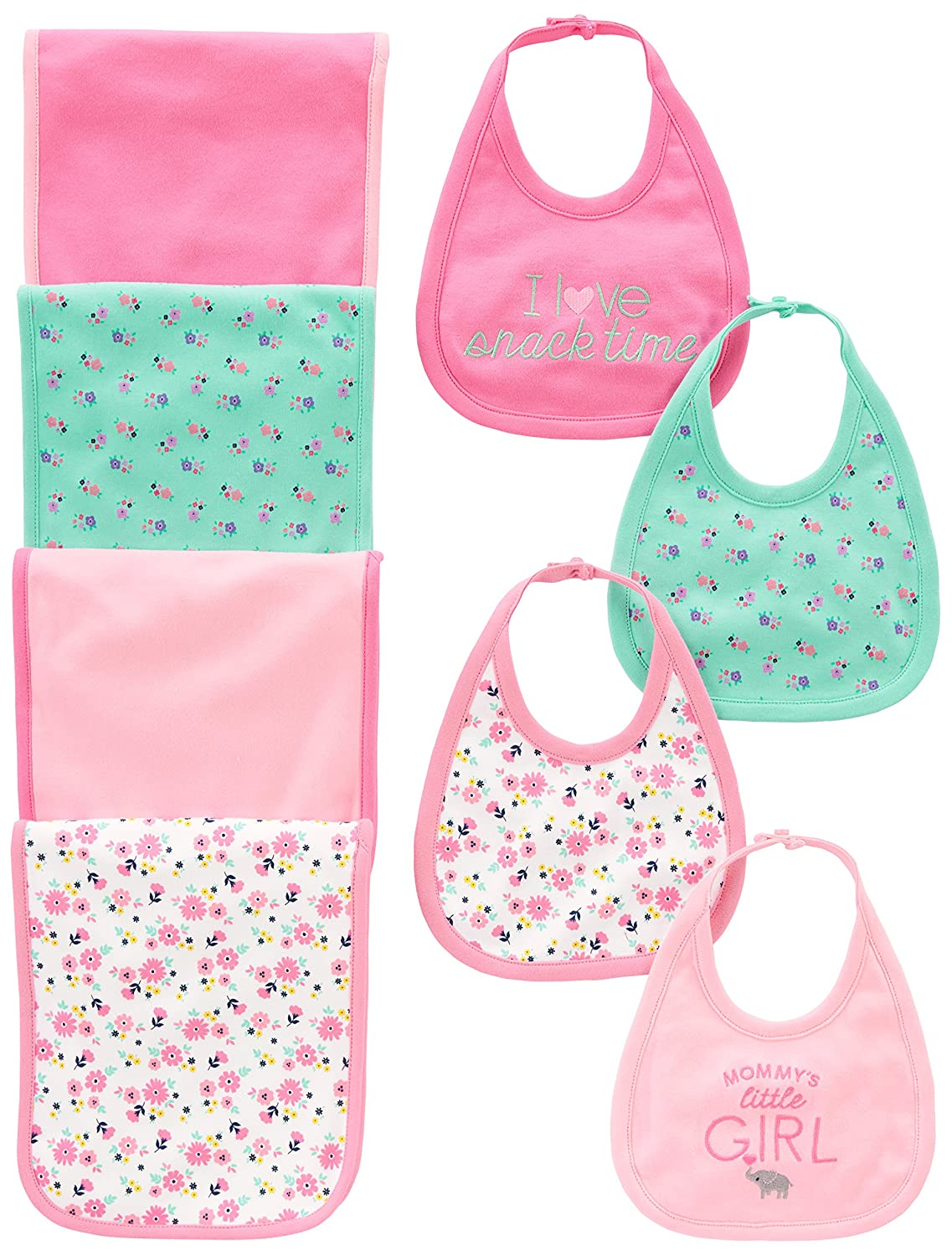 Simple Joys by Carter's Baby Girls' 8-Pack Burp Cloth and Bib Set Floral/Elephant One Size Simple Joys by Carter' s A26G011