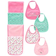 Simple Joys by Carter's Baby Girls' 8-Pack Burp Cloth and Bib Set, Floral/Elephant, One Size