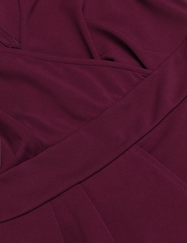 e1a38243f013e0 Parabler Damen V-Ausschnitt Wickelkleid Bleistiftkleid Etuikleid Ärmellos  Knielang Abendkleid Business Kleid: Amazon.de: Bekleidung