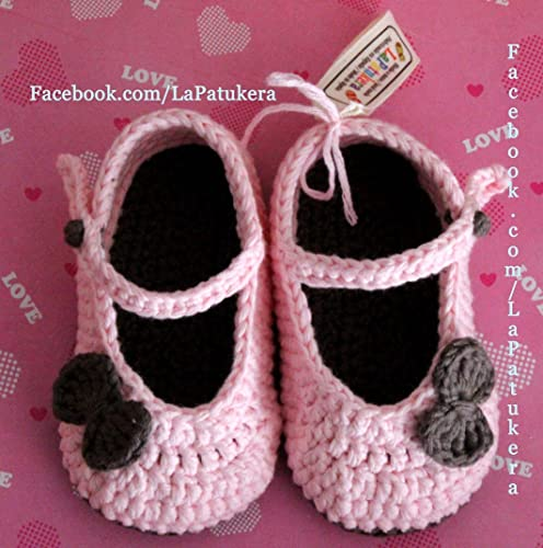 Patucos Merceditas para bebé de crochet, de color Rosa bebé y ...
