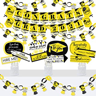 product image for Big Dot of Happiness Yellow Grad - Best is Yet to Come - Banner and Photo Booth Decorations - 2021 Yellow Graduation Party Supplies Kit - Doterrific Bundle