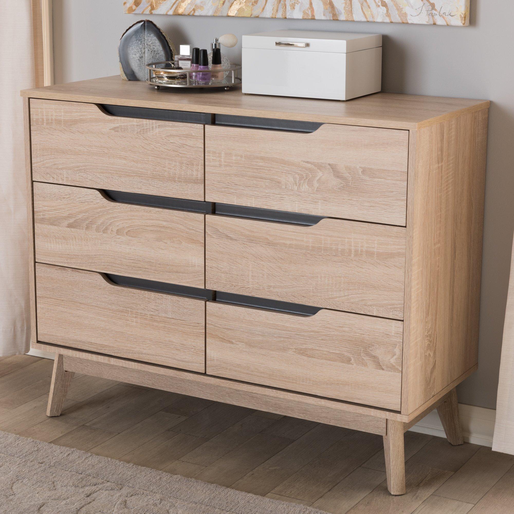 Baxton Studio Fella 6 Drawer Wood Double Dresser In Light