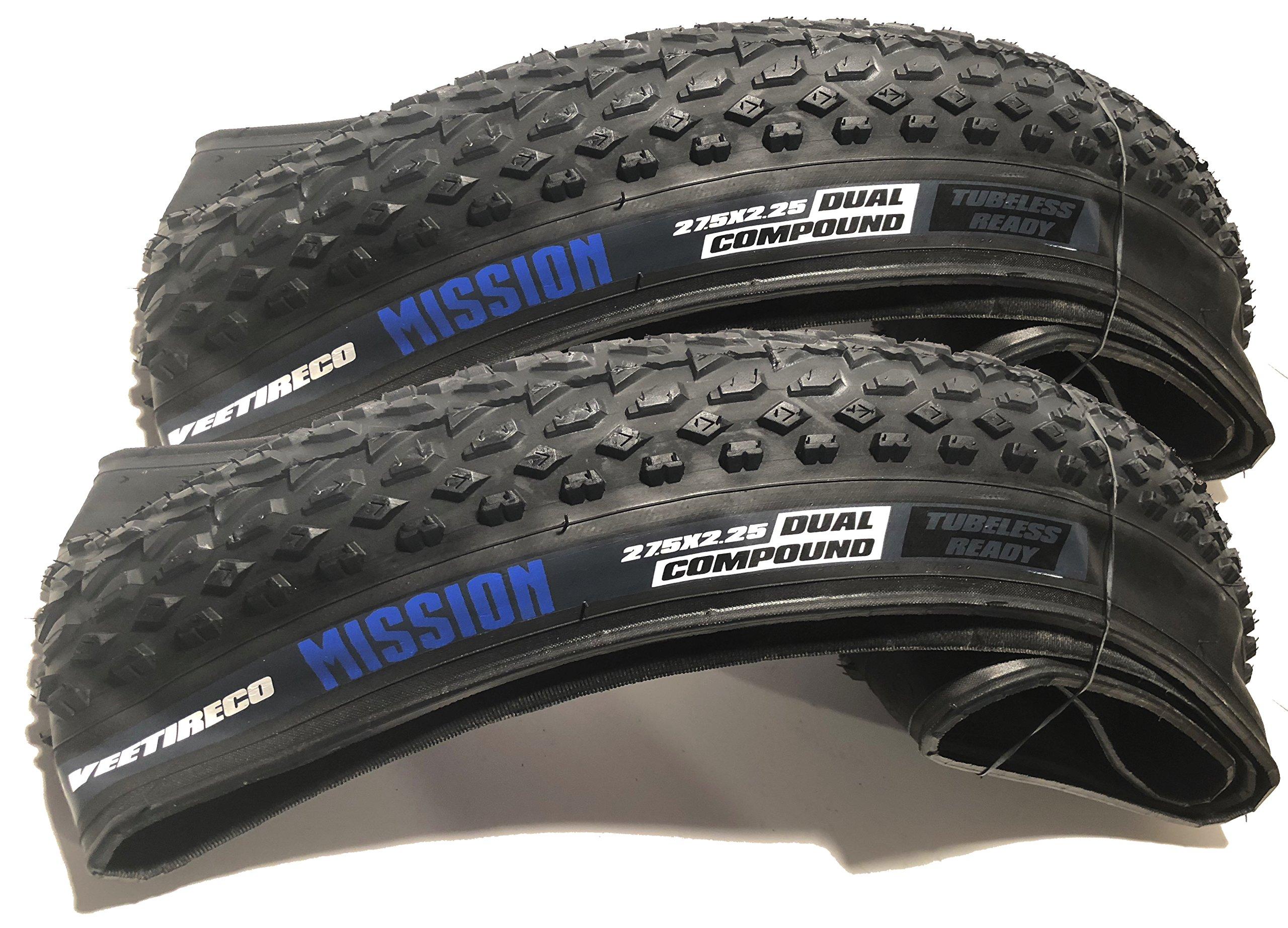 Vee - 2 Mission 27.5x2.25 Bike Tires (Pair) Folding Bead Dual Control Compound